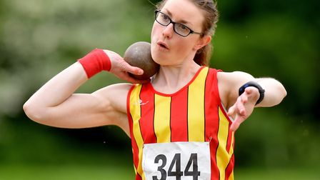CONAC's Sara Henderson in action at the Athletics Norfolk Track & Field Championships. Picture: Nick