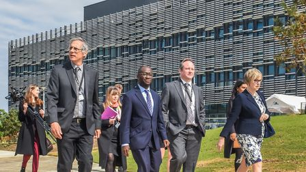 Science minister Sam Gyimah (centre) in front of the Quadram Insitute building. Picture: David Kirk