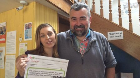 Volunteer Abbie Foster and Vice Chairman of Norwich and Central Norfolk Mind Dr Richard Gorrod at an