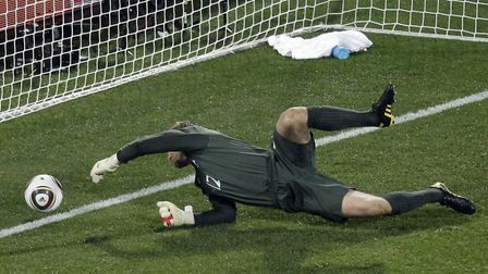 England's Robert Green fails to save a Clint Dempsey shot during the World Cup Group C match between