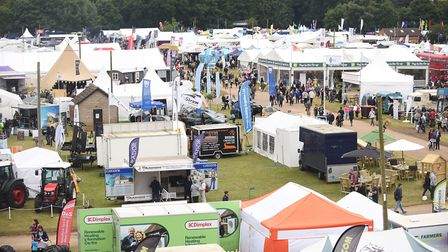 Stalls at the 2017 Royal Norfolk Show seen from the top of the Anglian Demolition scaffolding. Pictu