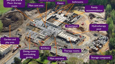 The aerial shot of the nook hospice in Framingham Earl showing locations of the new facilities. Pict