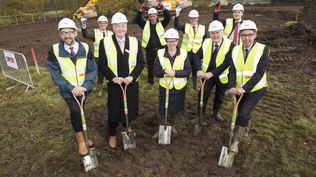 Official turf cutting for the £10m Each Nook hospice at Framingham Earl.Picture: Nick Butcher