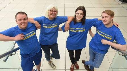 Four of the Norfolk and Norwich Festival 2018 volunteers, from left, John Clements, Maggie Wheeler,