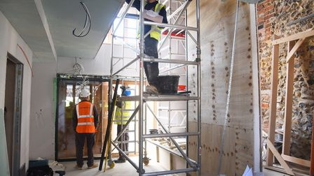 The entrance hallway where the stairs and lift will be fitted as work is nearing completion at Drago