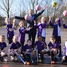 Sporty pupils at Mile Cross Primary with deputy head, Toby Whalen, ready for the challenge of the Ea