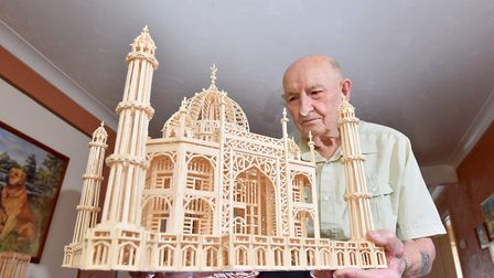 Model maker Victor Catchpole,88, with his latest matchstick model of the Taj Mahal.Picture: Nick But