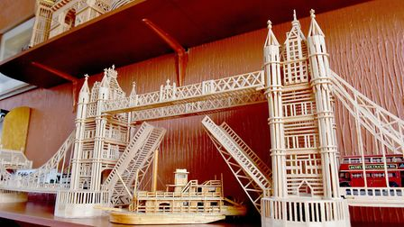 Model maker Victor Catchpole's matchstick model of Tower Bridge.Picture: Nick Butcher
