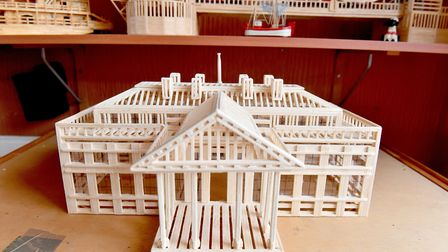Victor Catchpole's matchstick model of The White House.Picture: Nick Butcher