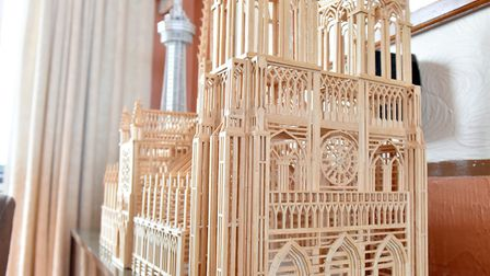 Victor Catchpole's matchstick model of Notre Dame cathedral.Picture: Nick Butcher