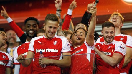 Rotherham United's Will Vaulks celebrates after the final whistle during the Sky Bet League One Play