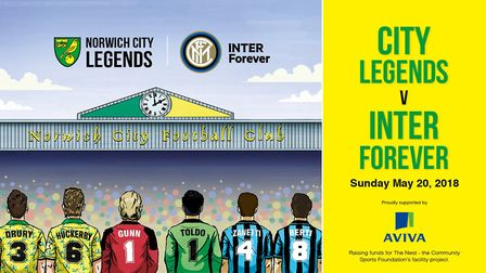 Norwich City Legends will host Inter Forever at Carrow Road on Sunday.