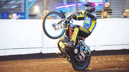 Ty Proctor on one wheel after a quality ride in heat nine against Leicester. Picture: Ian Burt