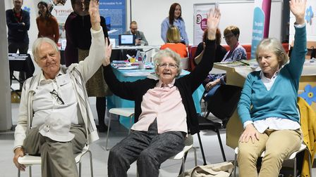 Supporters take part in seated Zumba for Dementia Action Week, organised by the Norwich City Dementi