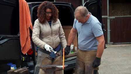 Love in the Countryside: Renita being taught blacksmithery by Mark (C) Fremantle Media Ltd