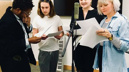 UEA MA Poetry students rehearse for (I) In Memory of Rebecca McManus.Photo: supplied by Writers' Cen
