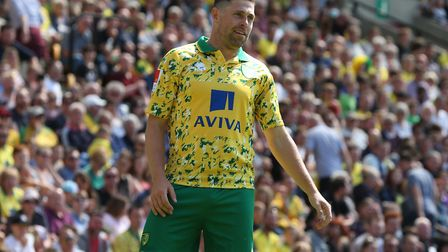 Grant Holt of Norwich City Legends during the Friendly match at Carrow Road, Norwich. Picture: Paul