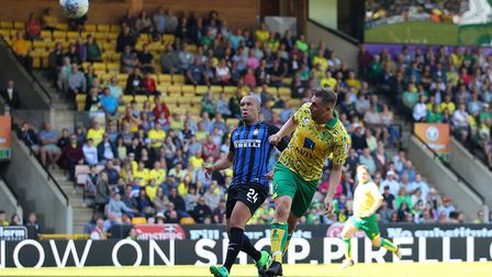 Grant Holt of Norwich City Legends heads for goal during the Friendly match at Carrow Road, NorwichP