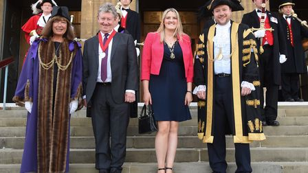 The new Lord Mayor of Norwich, Martin Schmierer, with his partner, Jennifer Cochrane; and the new Sh