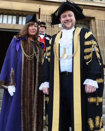 The new Lord Mayor of Norwich, Martin Schmierer, and the new Sheriff, Ros Brown. Picture: DENISE BRA