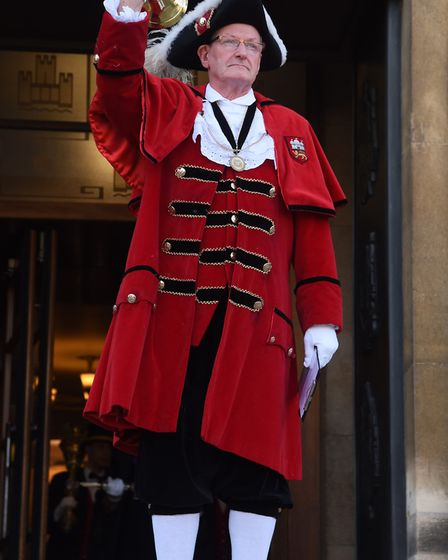 Towncrier Bob Lloyd announces the new Lord Mayor and Sheriff of Norwich. Picture: DENISE BRADLEY