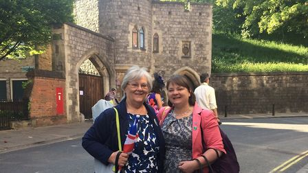 Helen Reeve and her mother Joan on the grounds of Windsor Castle during the Royal wedding Picture: H