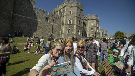 People continue to enjoy the weather and the royal wedding atmosphere in Windsor, Berkshire Picture: