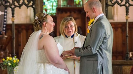 Peter and Lucy Clark, from Gorleston, exchanged their vows at the same moment as Prince Harry and Me