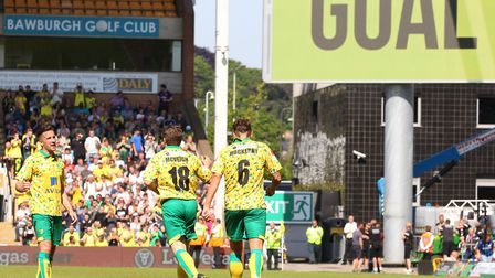 Paul McVeigh celebrates pulling a goal back for Norwich City Legends at Carrow Road. Picture: Paul