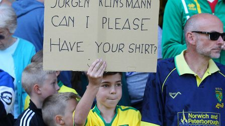 A Norwich City fan makes it clear what he wants after the match. Picture: Paul Chesterton/Focus Imag