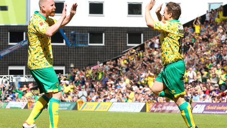 Paul McVeigh of Norwich City Legends celebrates scoring his sides 1st goal the Friendly match at Car