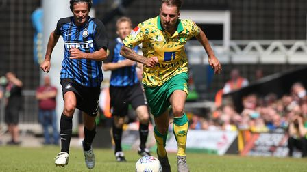 Darren Huckerby gets past Alessandro Bianchi for Norwich City Legends.