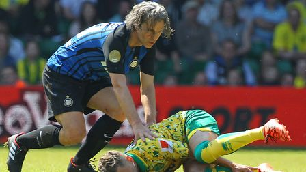 That wasn't very friendly! Inter Forever's Francesco Colonnese leaves a mark on Norwich City winger
