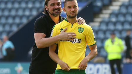 Norwich City head coach Daniel Farke and Moritz Leitner thank the visiting fans at Deepdale. Picture