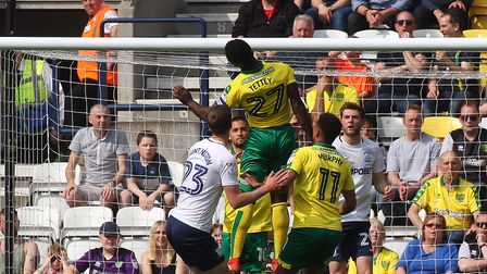 Alex Tettey rises highest to clear as Norwich CIty hold out for a clean sheet against Preston at Dee