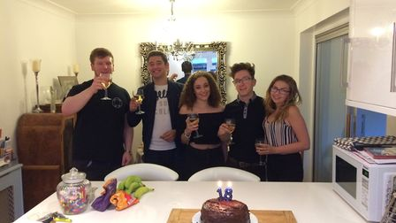Harry Simons, left, with friends at his 18th birthday. Picture: Simons family