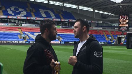 Sam Sexton, left, goes face to face with Hughie Fury. Piucture: Chris Lakey