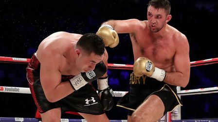 Hughie Fury, right, on the attack during his defeat to Joseph Parker in September. Picture: PA