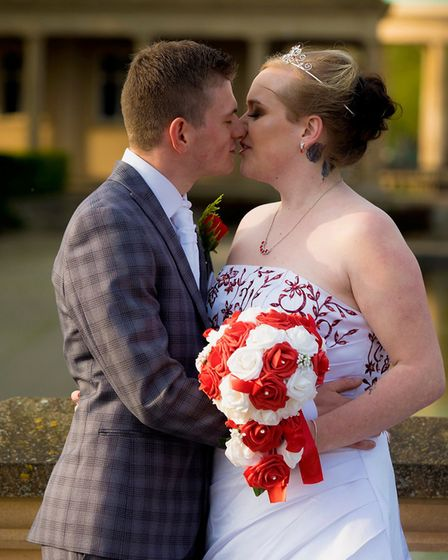 Mrs Brant-Wright, formerly Miss Wright, married her 23-year-old fiance Ryan Brant. Photo: Steve Dav