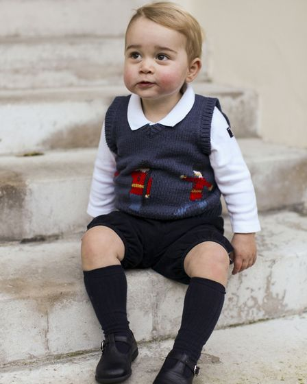 Prince George in a courtyard at Kensington Palace, central London. Picture: TRH The Duke and Duchess
