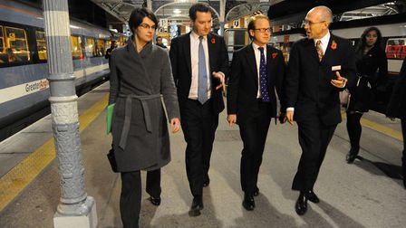 George Osborne visiting Norwich railway station in 2013, when chancellor, to announce a task force w