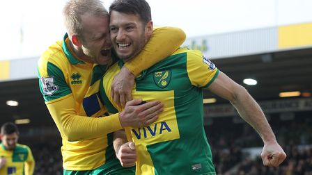 Wes Hoolahan celebrates scoring City's third goal in the remarkable 5-4 home defeat by Liverpool in
