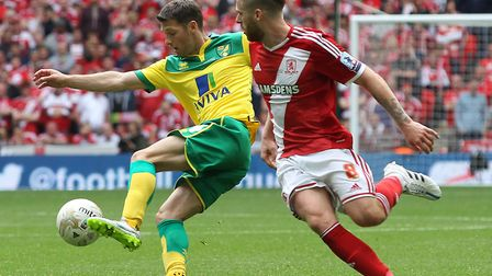 Wes Hoolahan in Championship play-off final action against Middlesbrough in 2015. Picture by Paul Ch