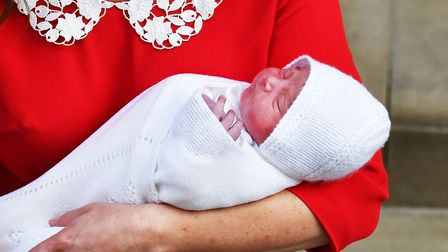 The Duchess of Cambridge with her newborn son outside the Lindo Wing at St Mary's Hospital in Paddin