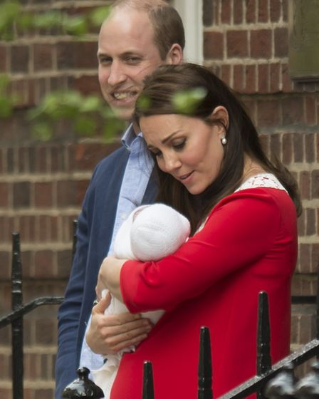 The Duke and Duchess of Cambridge and their newborn son outside the Lindo Wing at St Mary's Hospital