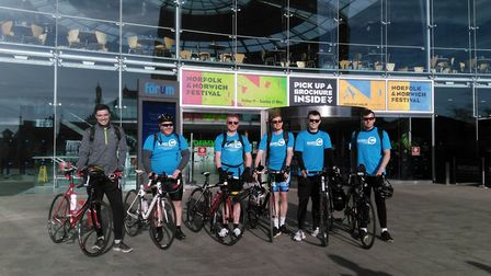 A group of friends who met at Wymondham College set off from The Forum in Norwich to cycle to Torqua