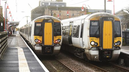 Two Great Northern trains on the platform at Downham Market station. Picture: Ian Burt