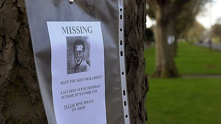 Missing posters of Nick Green, along Earlham Road. PHOTO BY NATASHA LYSTER