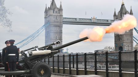 The Honorable Artillery Company fire a 62 gun royal salute at the Tower of London, on the occasion o