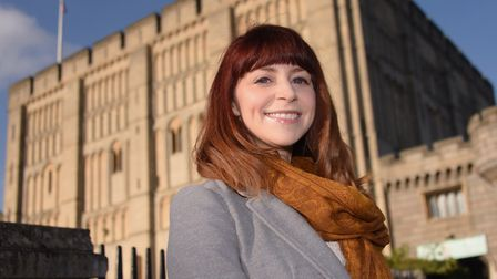 Isabelle King at Norwich Castle, which is included in her latest book Once Upon a Time in Norfolk. P
